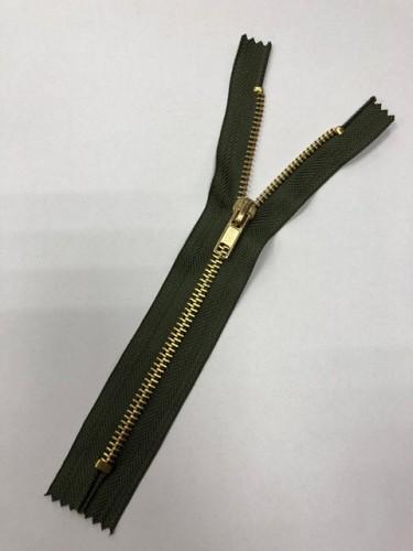 Молния джинсовая Т5 18см неразъемная золото цв.№327 хаки(в упак.100шт)