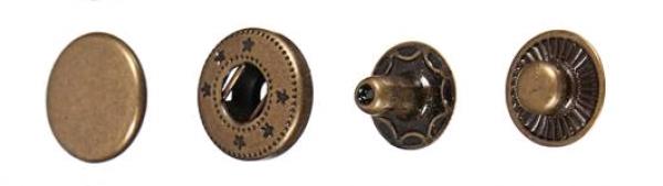 Кнопка стальная Alfa 15мм цв.антик(в упак.720шт)