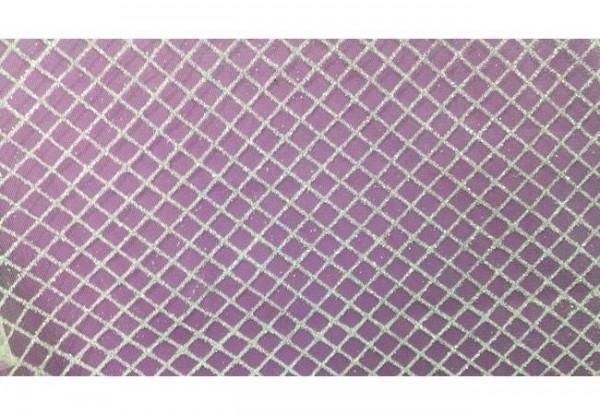 SRBL20 Ткань свадебная с блестками на сетке шир.150см цв.белый(в рул.50м)