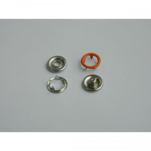 282 Кнопка нержавеющая трикотажная кольцевая 09,5мм цв.оранжевый(в упак.1440шт)
