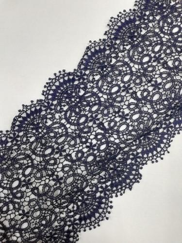 0061S Кружево вязаное хлопок шир.18см цв.т.синий(в рул.20м)