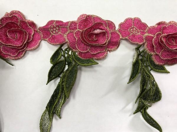 1608 Нашивка с цветами в рулоне цв.145 фуксия(в упак.9м)