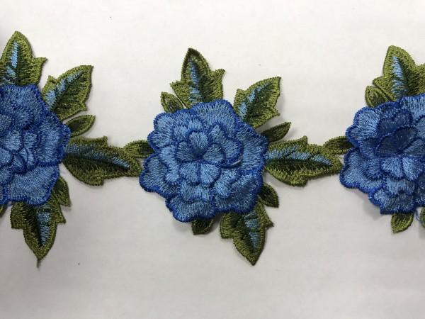 1603 Нашивка с цветами в рулоне цв.168 голубой(в упак.9м)