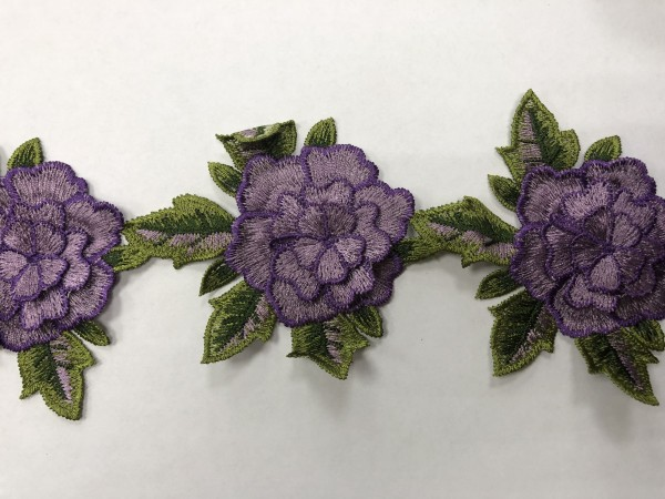 1603 Нашивка с цветами в рулоне цв.167 сиреневый(в упак.9м)