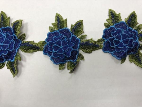 1603 Нашивка с цветами в рулоне цв.223 электрик(в упак.9м)