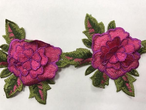 1603 Нашивка с цветами в рулоне цв.144 розовый(в упак.9м)