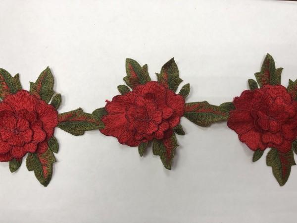 1604 Нашивка с цветами в рулоне цв.148 красный(в упак.14м)