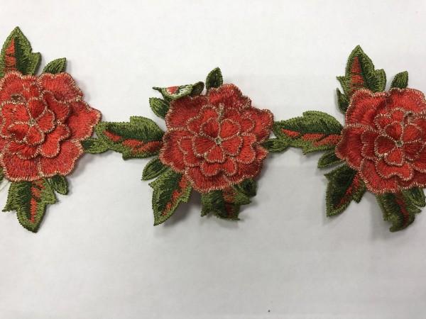 1605 Нашивка с цветами в рулоне цв.161 кирпич(в упак.9м)