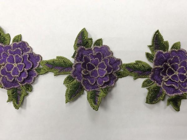 1605 Нашивка с цветами в рулоне цв.170 фиолетовый(в упак.9м)