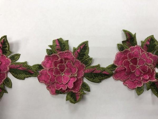 1605 Нашивка с цветами в рулоне цв.144 розовый(в упак.9м)