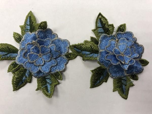 1605 Нашивка с цветами в рулоне цв.168 голубой(в упак.9м)