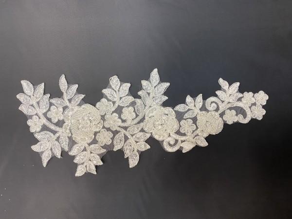 0577Y-BC Апликация кружевная свадебная цв.белый(в упак.12пар)