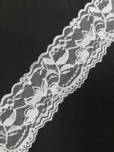 1052 Кружево эластичное полиэстер шир.6см цв.белый(в упак.30м)