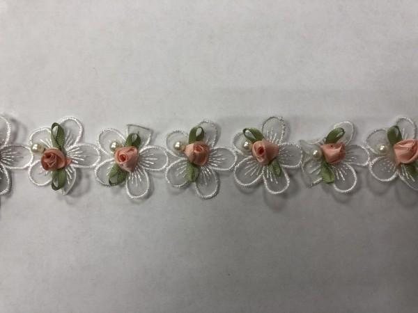 5555 Кружево расшитое роза шир.3см цв.персиково-зеленый(в упак.13м)