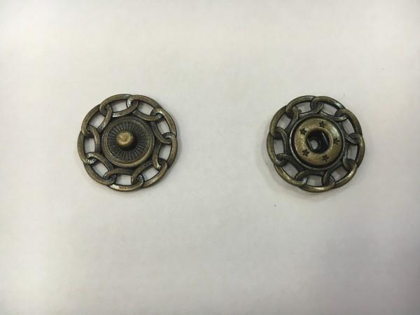 Кнопка пришивная литая с цепочкой 24мм цв.антик(в упак.100шт)