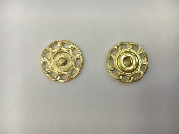 Кнопка пришивная литая с цепочкой 24мм цв.золото(упак.100шт)