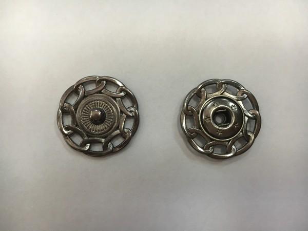 Кнопка пришивная литая с цепочкой 24мм цв.никель(в упак.100шт)