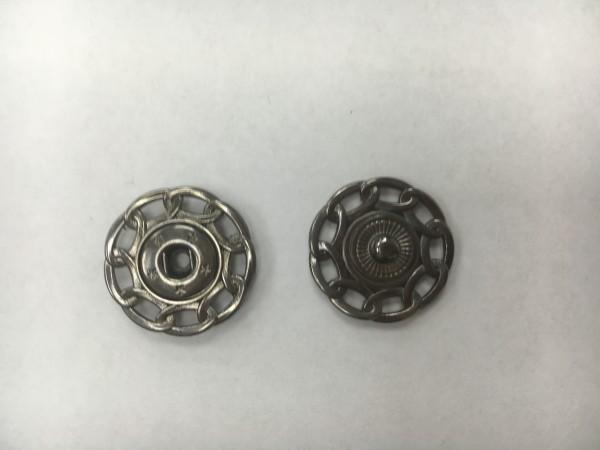 Кнопка пришивная литая с цепочкой 24мм цв.ч.никель(в упак.100шт)