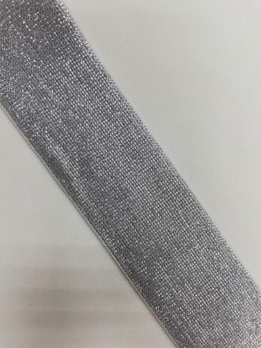 Резинка поясная с люриксом 50мм цв.серебро(в рул.25м)