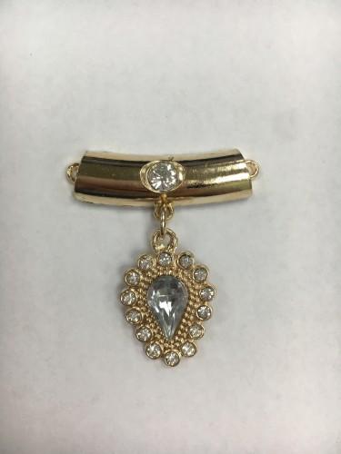 Брошь №23 пришивная слезинка с серебристым кристаллом и стразами цв.золото