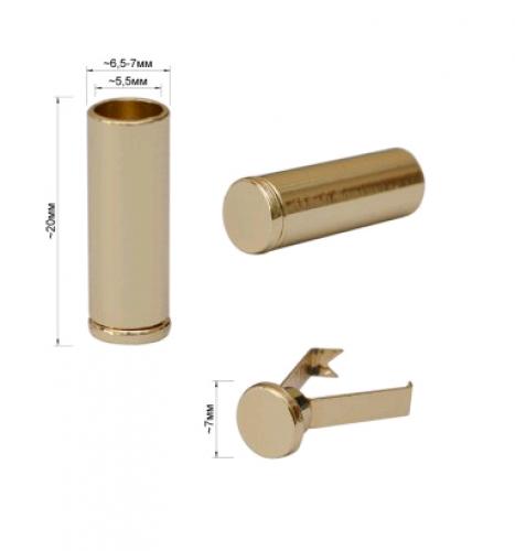 771 Концевик зажим для шнура круглый блестящий 20мм цв.золото(в упак.500шт)