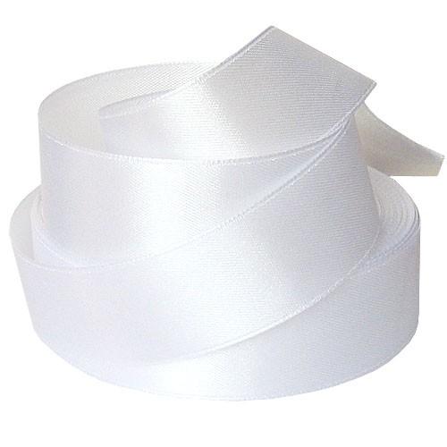 101 Атласная лента 25мм цв.белый(в рул.33м)