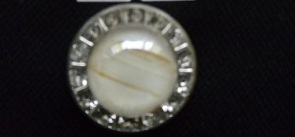 0719 Пуговица металлическая на ножке с белым камнем цв.никель(в упак.500шт)