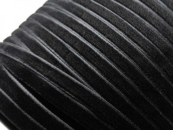 Бархатная лента 07мм цв.черный(в рул.200м)