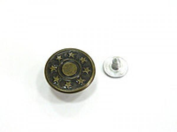 Джинсовые пуговицы 17мм со звездами цв.антик(в упак.1000шт)