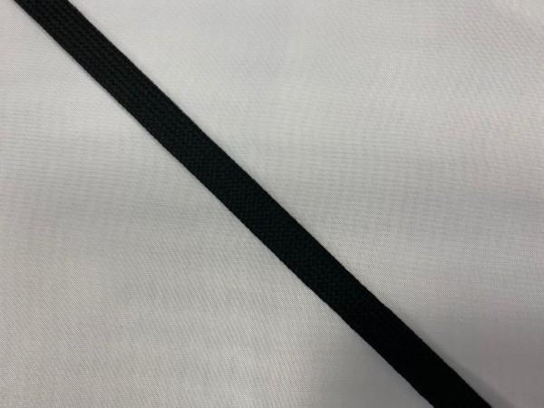 Шнур хлопковый плоский 12мм цв.черный(в рул.100м)