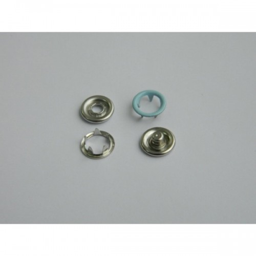 184 Кнопка нержавеющая трикотажная кольцевая 09,5мм цв.св.голубой(в упак.1440шт)