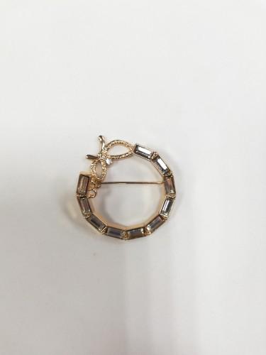 4960R Брошь бабочка с камнями цв.золото(в упак.10шт)