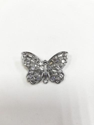 4959R Брошь бабочка с камнями цв.никель(в упак.10шт)