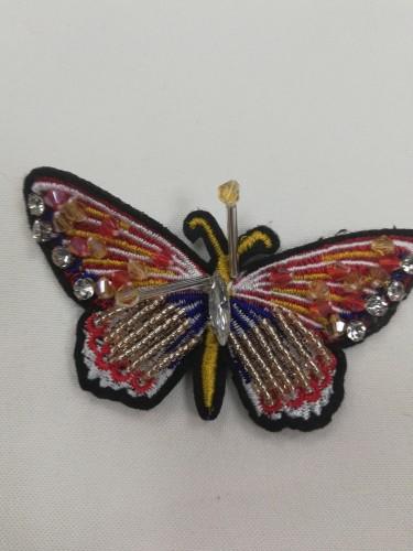 3 Нашивка со стразами Бабочка цв.желтый(в упак.10шт)