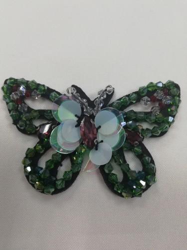 4 Нашивка со стразами Бабочка цв.зеленый(в упак.10шт)