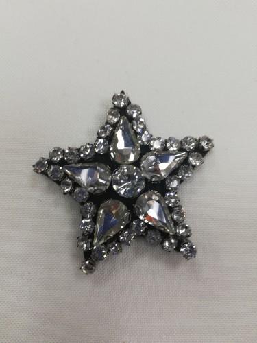 12 Нашивка со стразами Звезда маленькая(в упак.10шт)