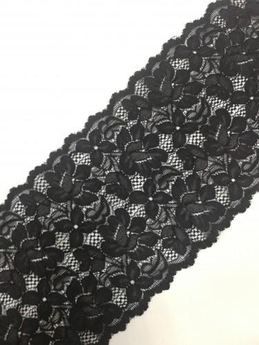 0505 Кружево эластичное полиэстер шир.16см цв.черный(в упак.30м)