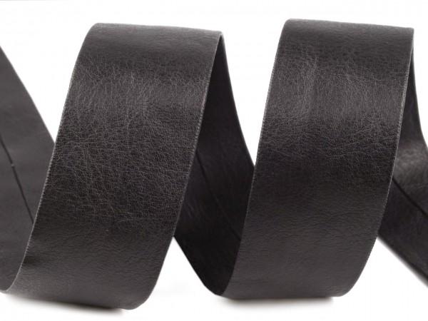 Косая бейка кожаная матовая 20мм цв.черный(в рул.37м)