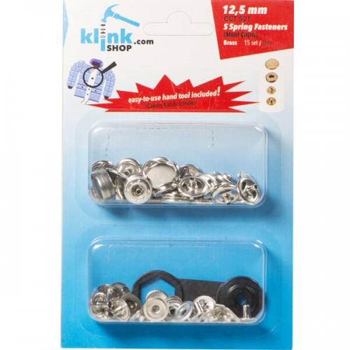 Кнопка в розничной упаковке нержавеющая №61 12,5мм цв.никель(в упак.15шт)