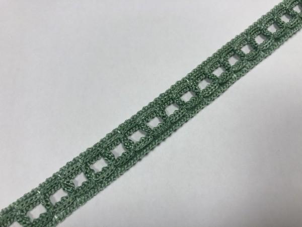 1- 30 Кружево вязаное полиэстер цв.зелень(в рул.59м)