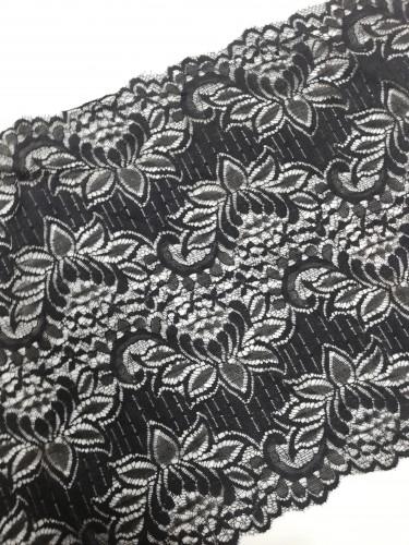 0610 Кружево эластичное полиэстер шир.30см цв.черный (в упак.30м)