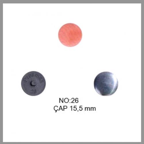 Заготовка для обтяжки пуговиц на пластиковой ножке №26 16мм цв.черный(в упак.500шт)