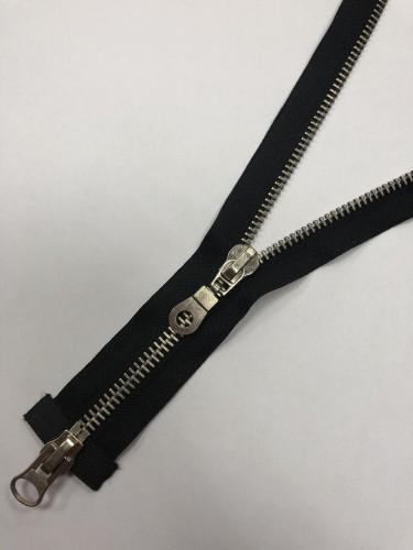Молния металлическая Т8 двухзамковая 65см никель цв.№322 черный(в упак.50шт)