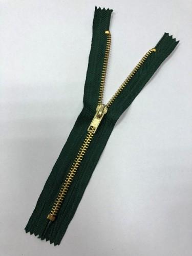 Молния джинсовая Т5 18см неразъемная золото цв.№272 зеленый(в упак.100шт)