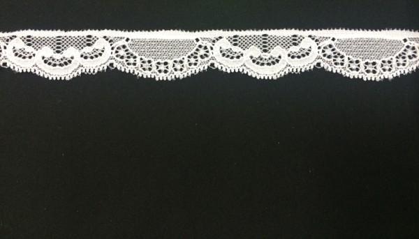 1000 Кружево эластичное полиэстер шир.2см цв.белый(в упак.30м)
