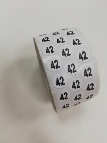 42 Размерники на самоклеящейся бумаге цв.белый(в рул.5000шт)