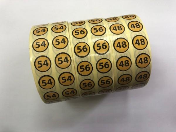 62 Размерники на самоклеящейся бумаге цв.желтый(в рул.5000шт)