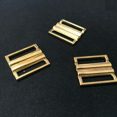 Бельевая застежка для купальника металлическая 15мм цв.золото(в упак.1000шт)