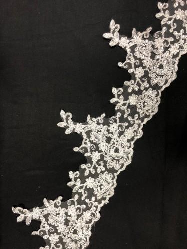 M014H Кружево свадебное полиэстер цв.белый(в упак.10ярд)