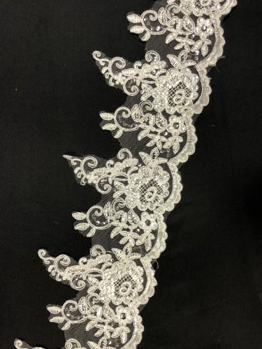 H391 Кружево свадебное полиэстер цв.белый(в упак.10ярд)